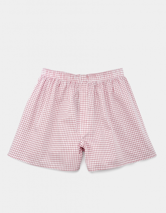 Orange checked fabric boxer shorts