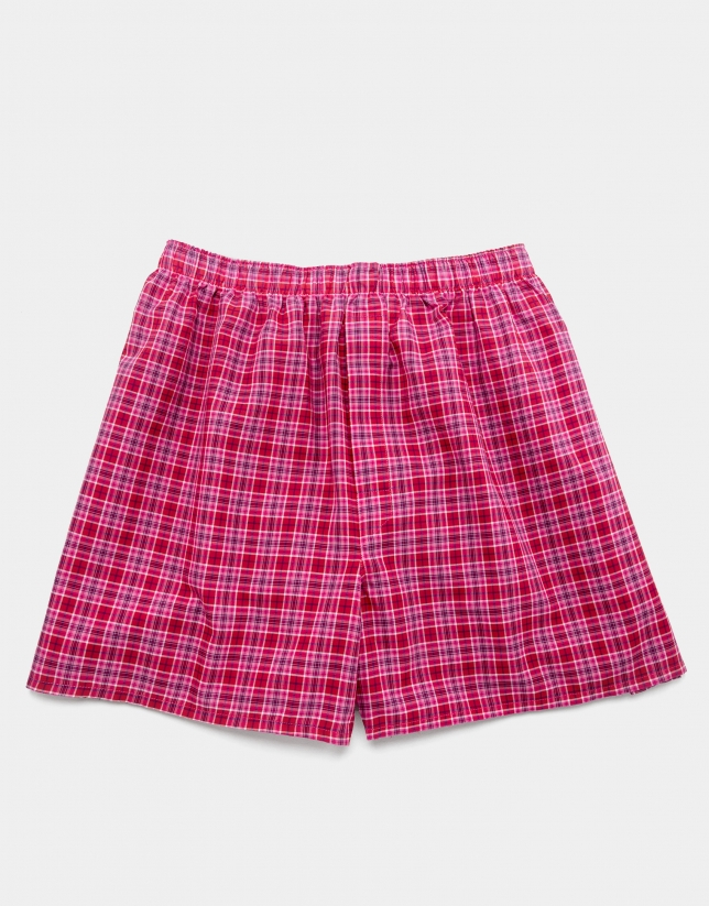 Pink checked fabric boxer shorts