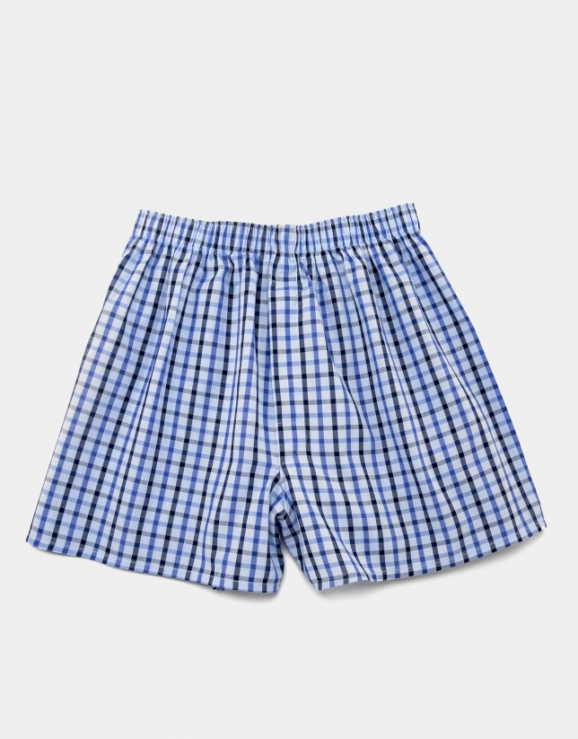 Blue checked fabric boxer shorts