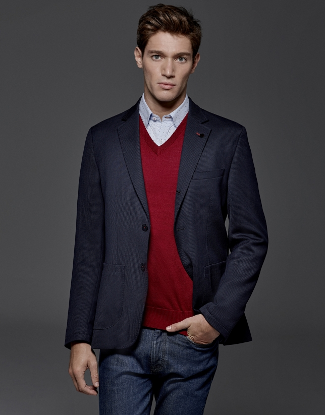 Navy blue sports jacket with patch pockets
