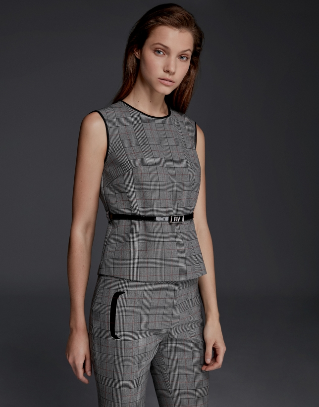 Gray glen plaid top