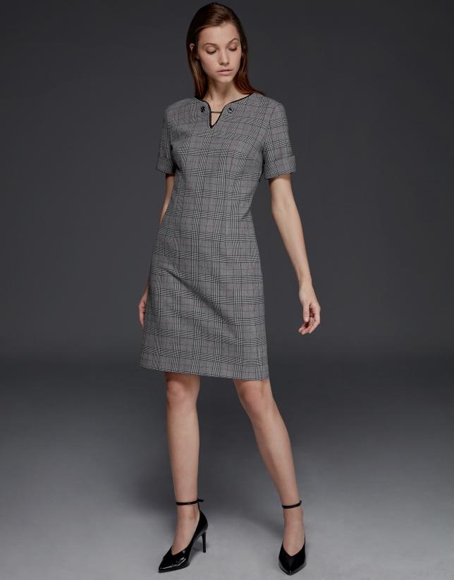 Vestido manga corta cuadros grises