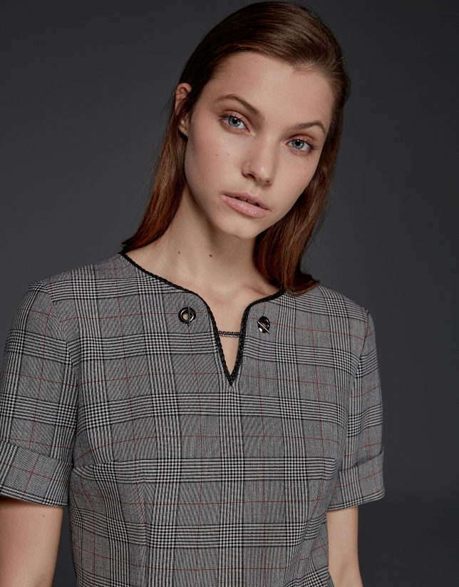 Gray checked, short-sleeved dress