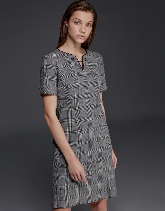 Gray checked, short-sleeved dress