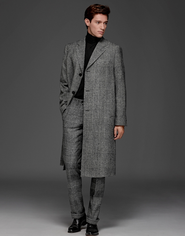 Manteau long à carreaux Prince de Galles gris