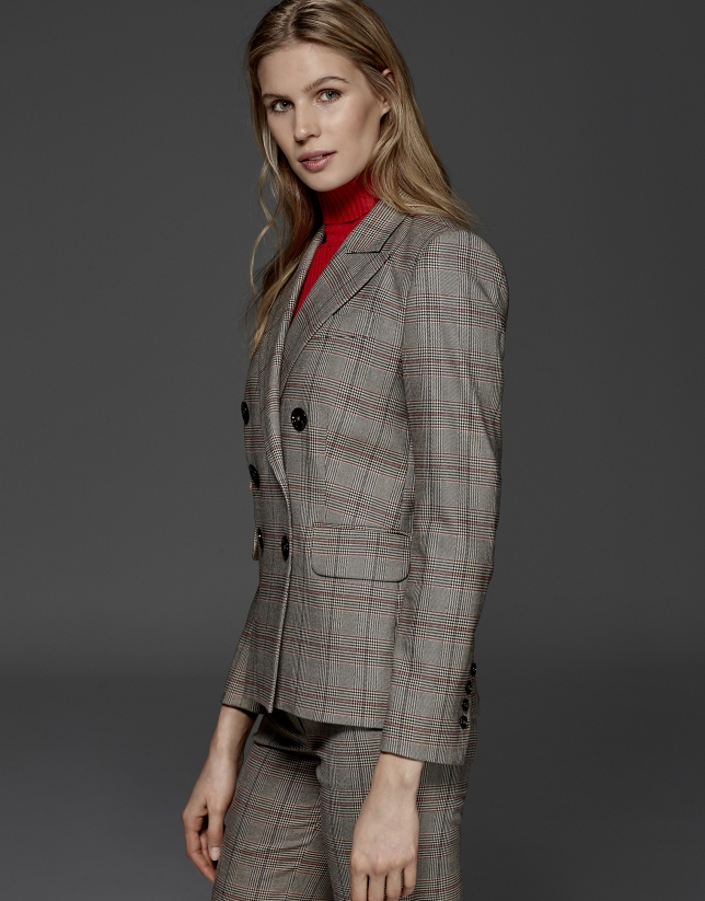 Red double-breasted glen plaid jacket