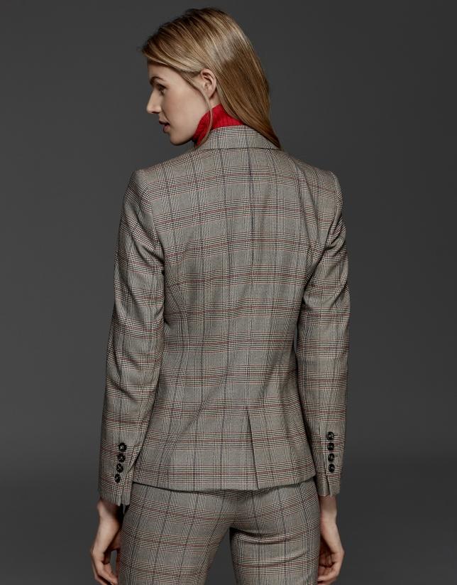 Veste croisée en Prince de Galles gris, profilée en rouge