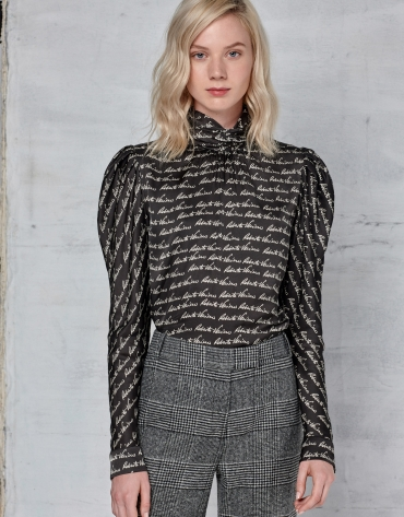 Black signature print blouse