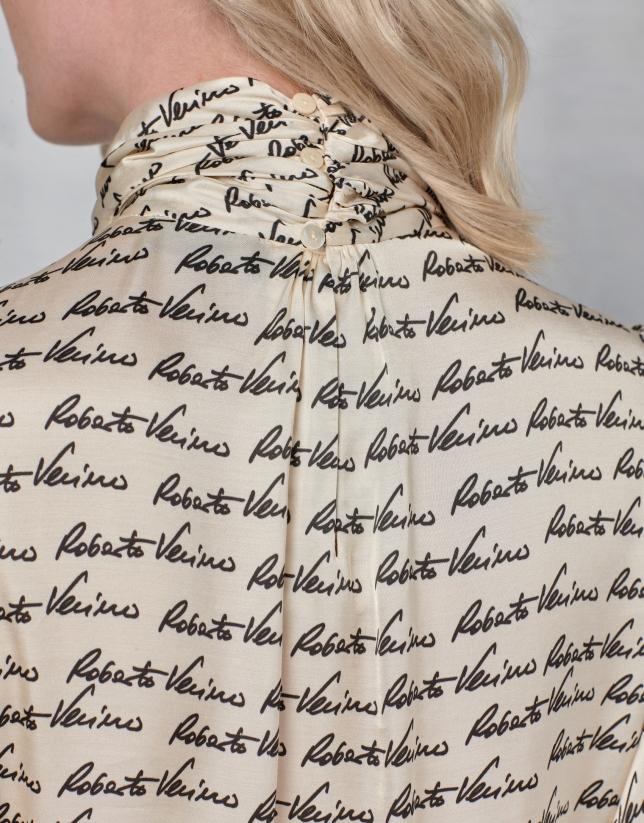 White signature print blouse