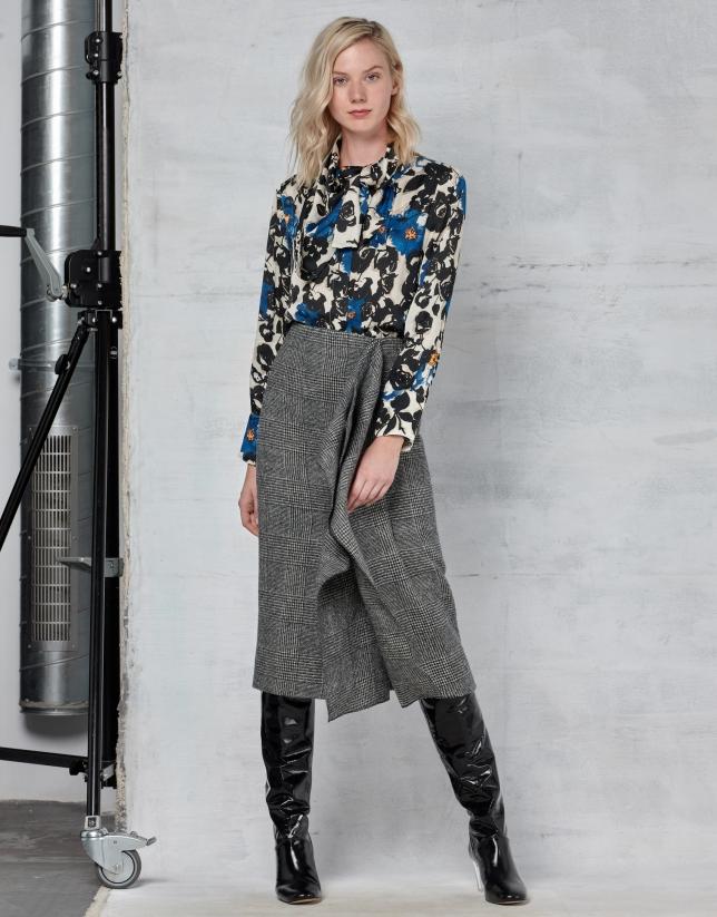 Gray glen plaid midi flare skirt