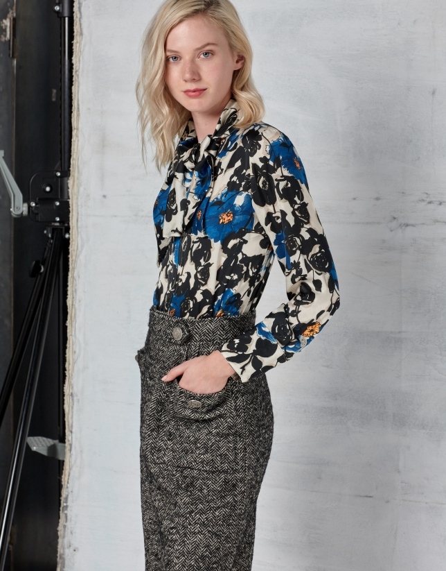 Blue floral print blouse with bow