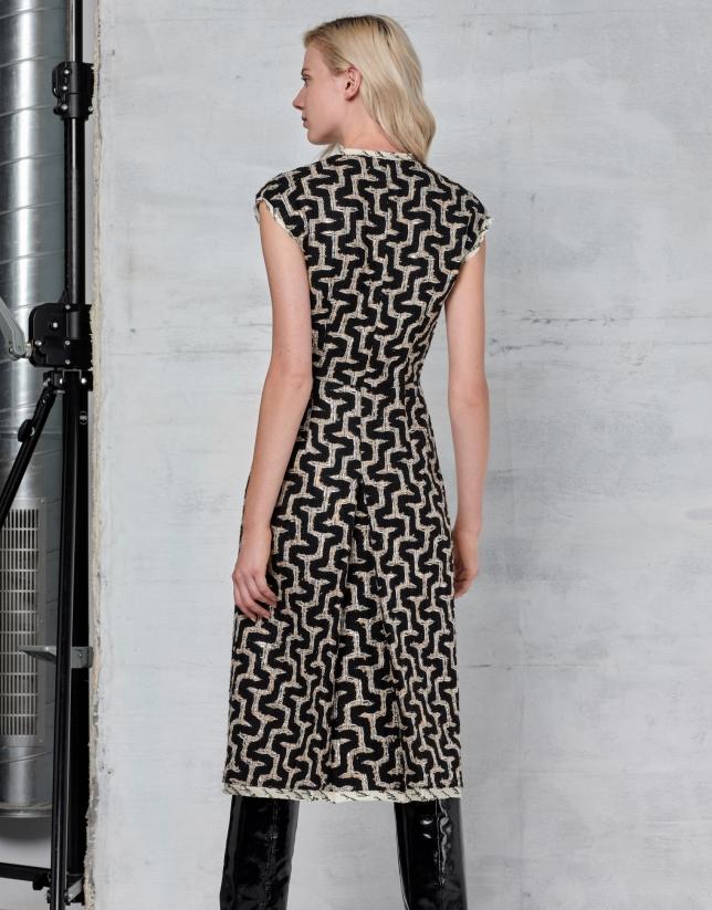 Geometric tweed dress with V-neck