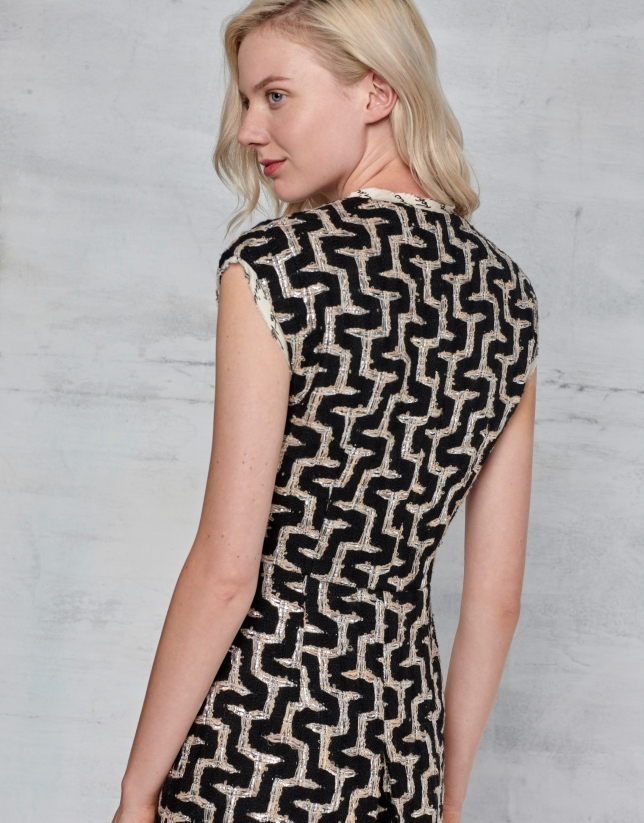 Vestido tweed geométrico cuello pico