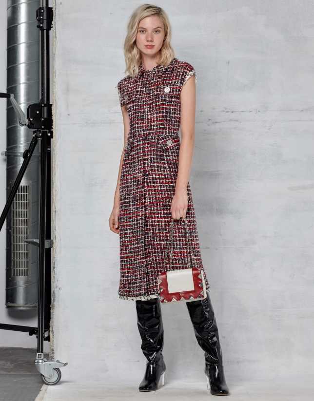 Red tweed shirtwaist dress