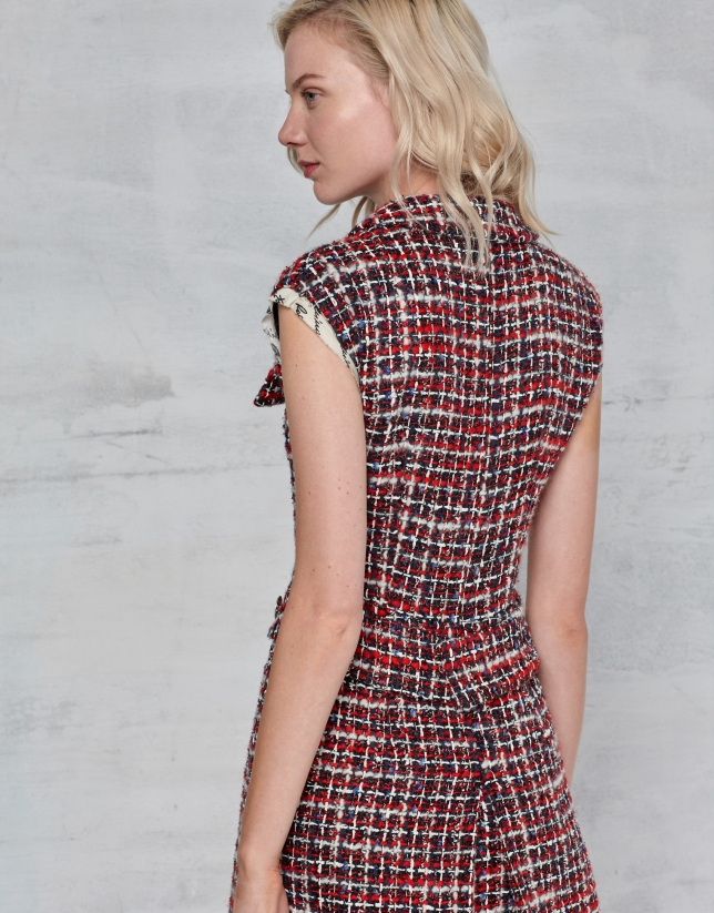 Red tweed shirtwaist dress