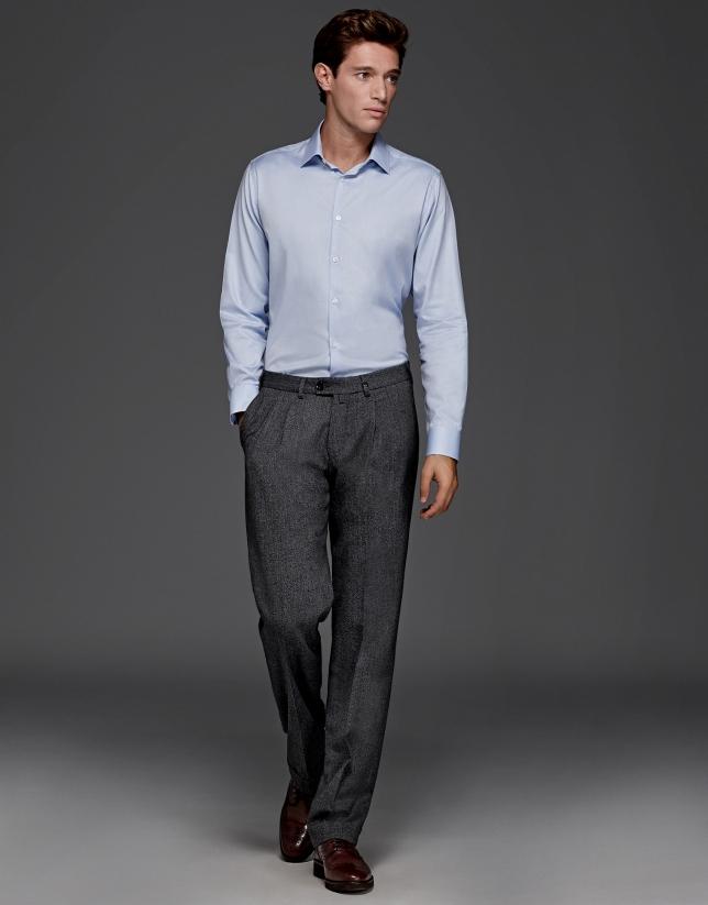 Pantalón de pinzas lana gris melange