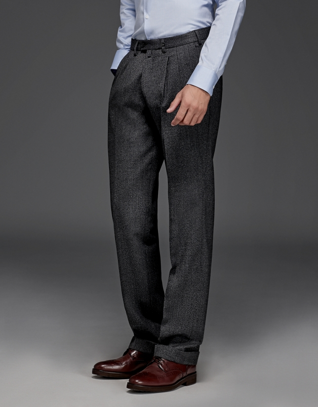 Mélange gray wool pants with darts