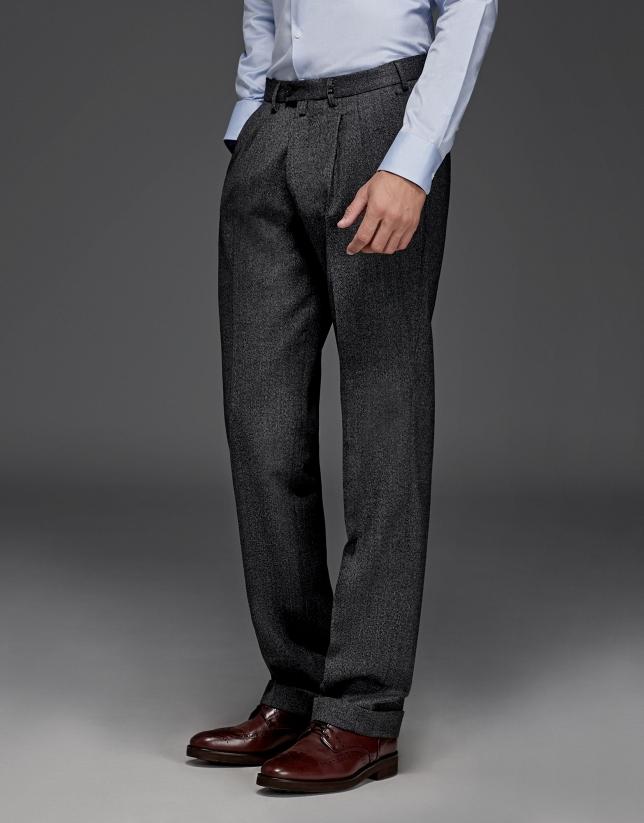Pantalon à pinces en laine gris mélangé