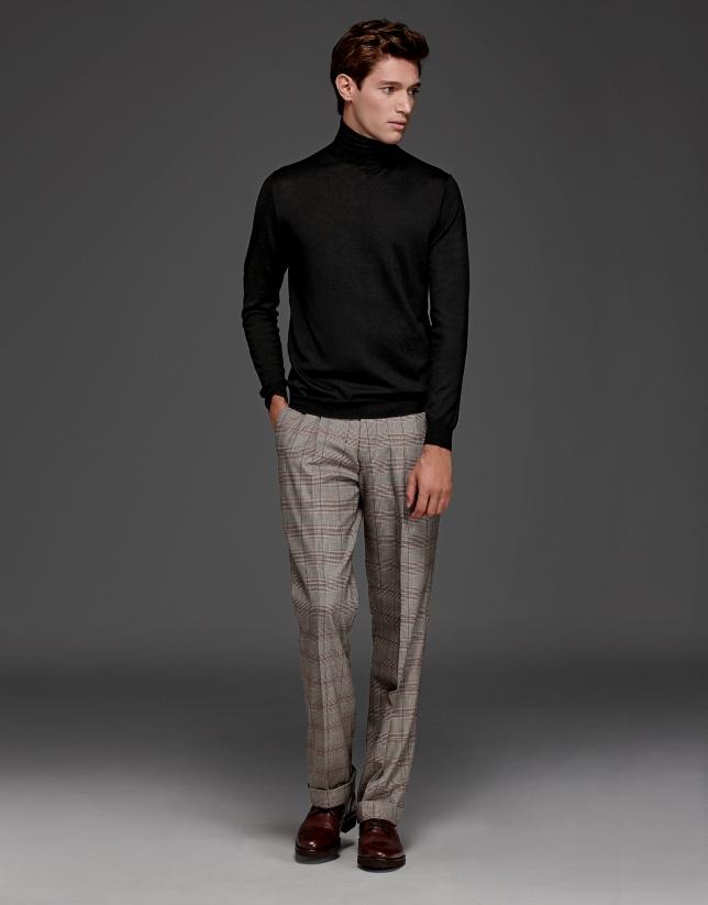 Pantalon à pinces Prince de Galles beige/rouge