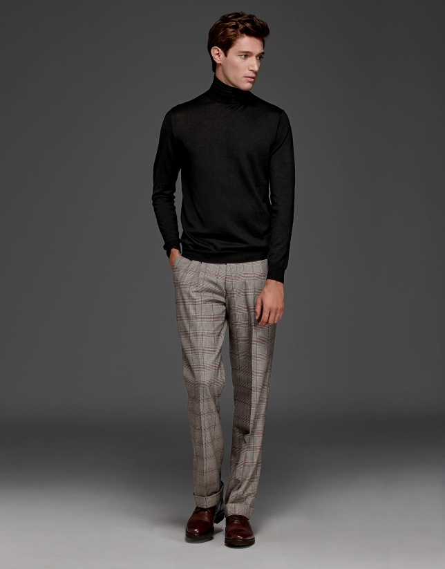 Red/Beige glen plaid pants with darts