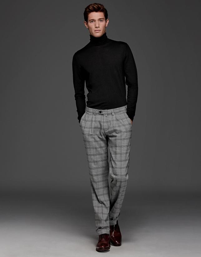 Pantalon à pinces Prince de Galles gris