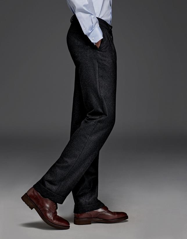 Pantalón de pinzas lana gris oscuro