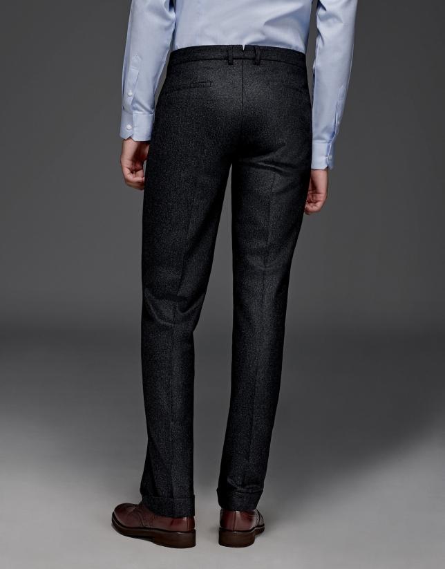 Pantalon à pinces en laine gris foncé
