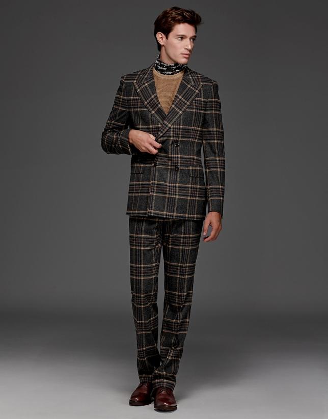Costume croisée Prince de Galles gris/beige