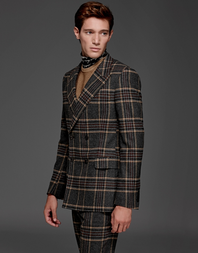 Gray/beige glen plaid double-breasted suit