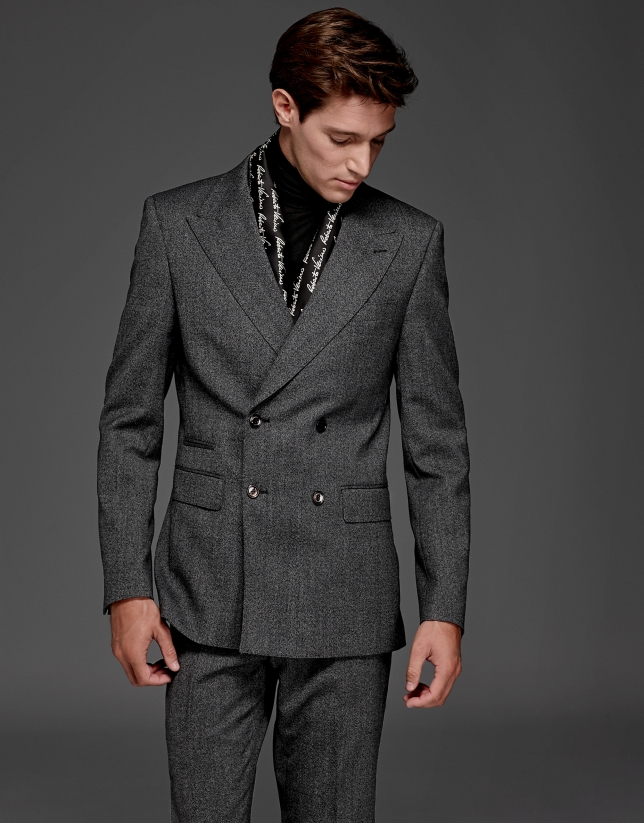 Gray wool double-breasted suit