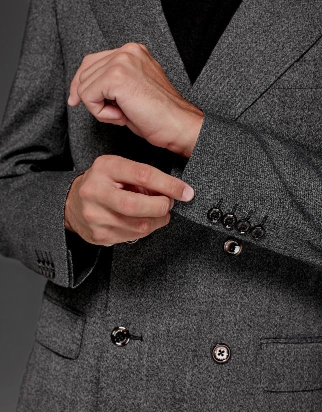 Costume croisé en laine gris