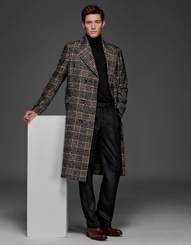 Long brown glen plaid, double-breasted coat