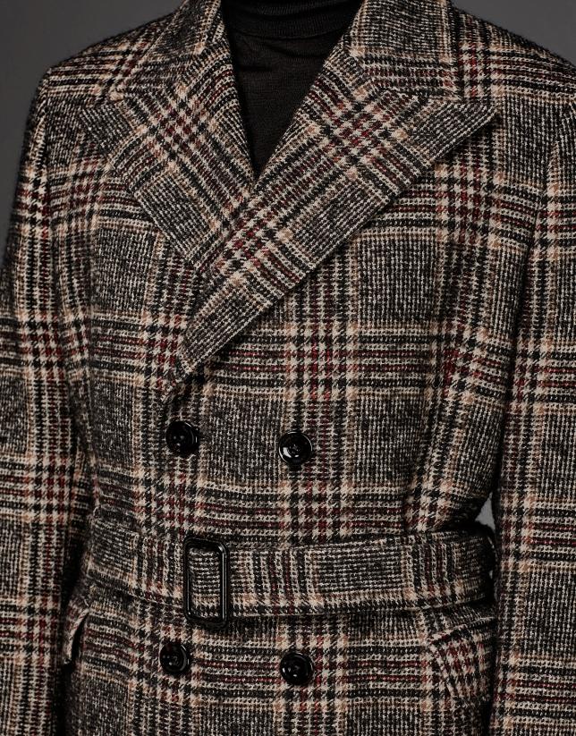Abrigo largo cruzado Príncipe de Gales marrón