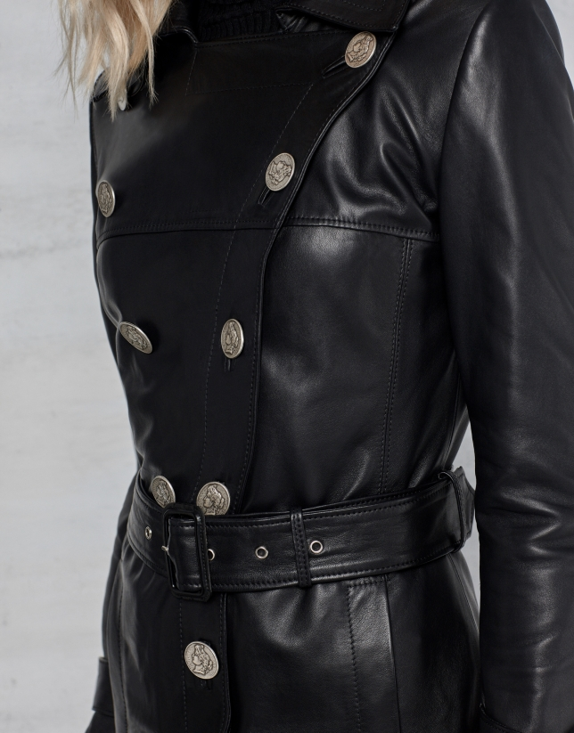 Black leather trench coat with buttons