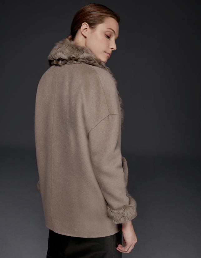 Taupe double-faced parka with fur collar