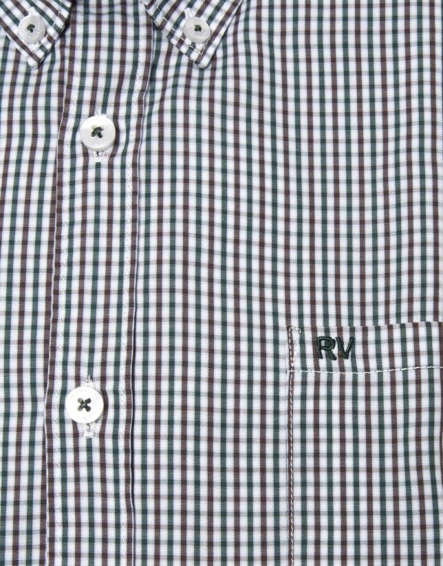 Camisa cuadros tostado y verde