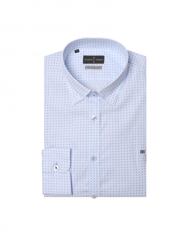 Chemise à micromotif de carreaux bleu