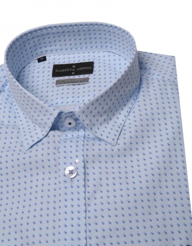 Blue micro print shirt