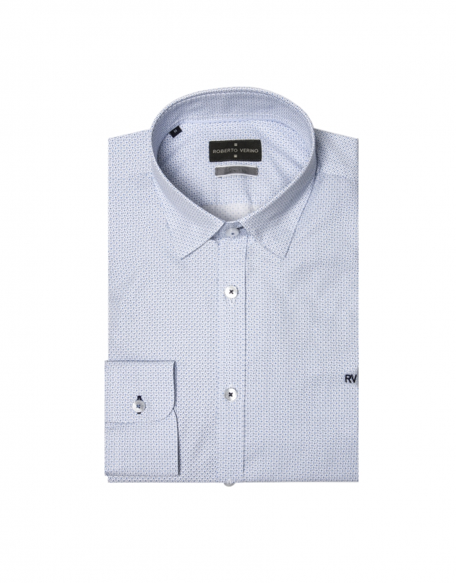 Camisa blanca estampado geométrico azul