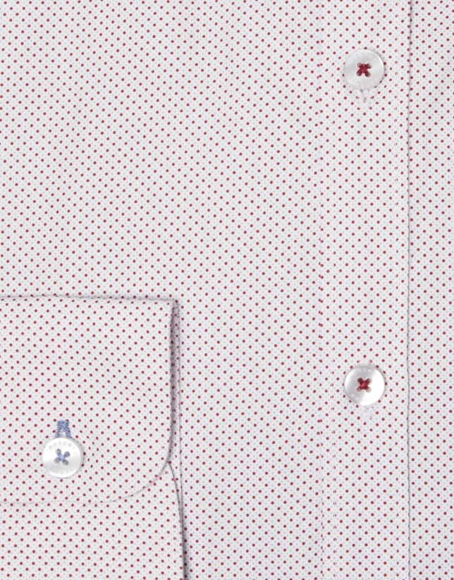Red/light blue geometric print shirt