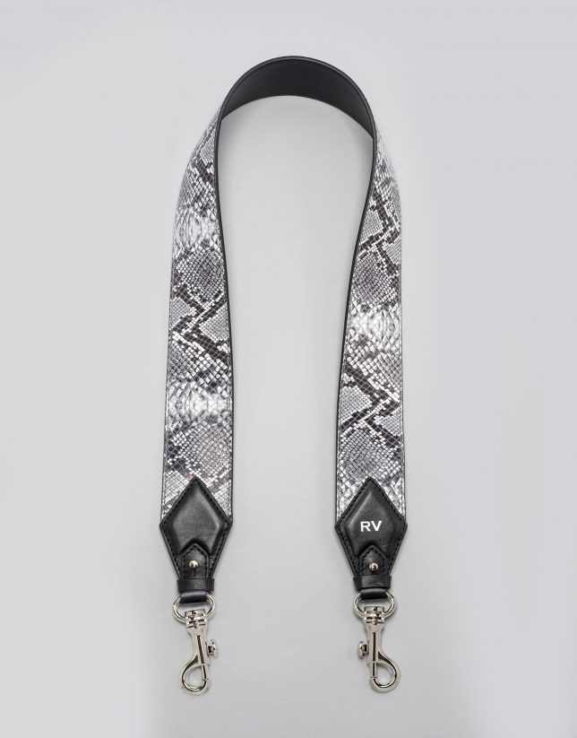 Black python shoulder strap