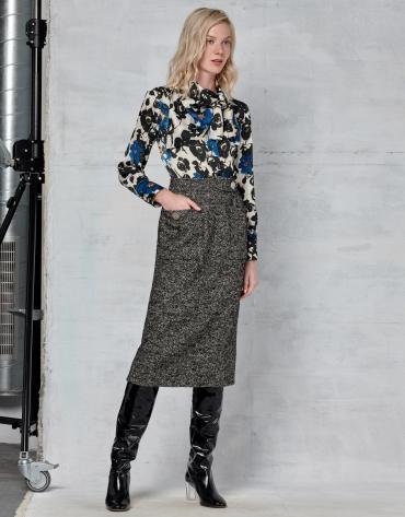 Falda midi tweed gris
