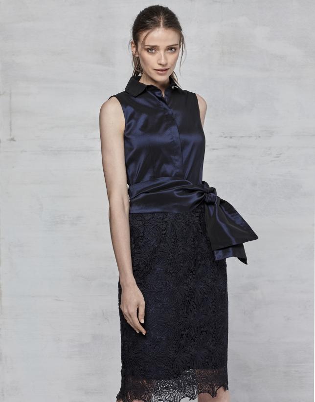 2560fa2db Vestido fiesta encaje azul noche - Mujer