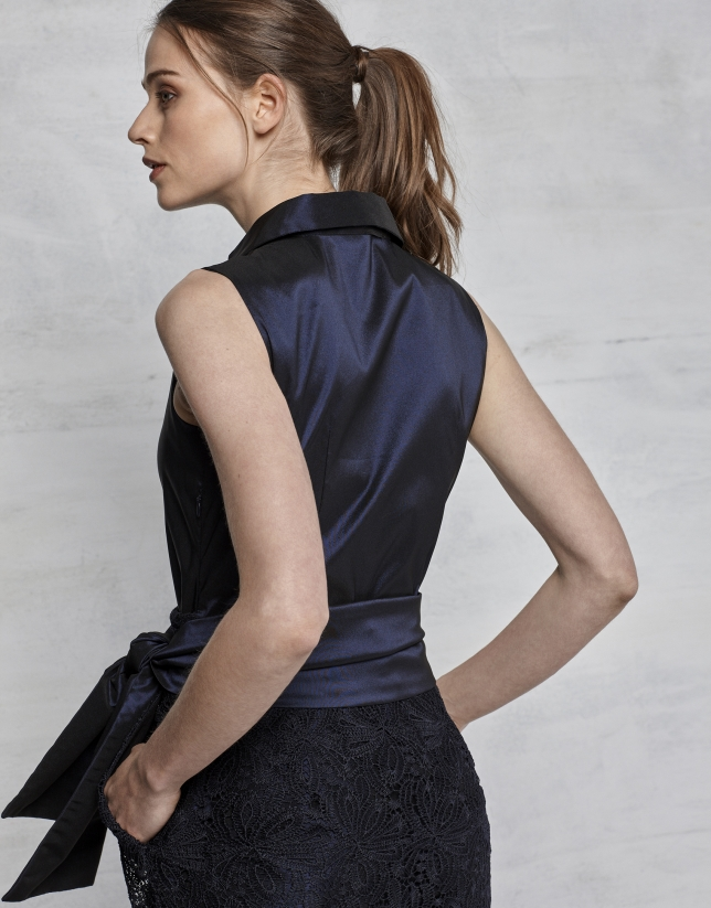Midnight blue lace party dress