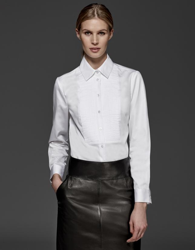 Chemise à coulisses blanche