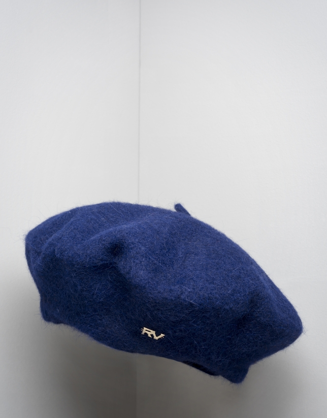 Blue wool and angora beret
