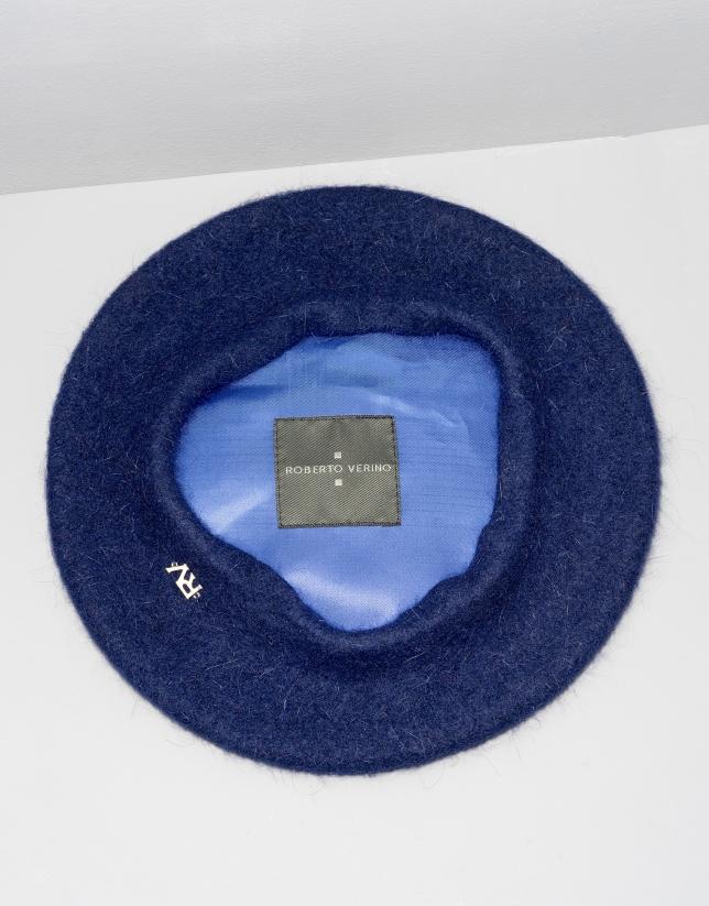 Boina angora y lana azul marino
