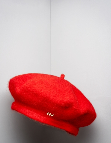 Red wool and angora beret