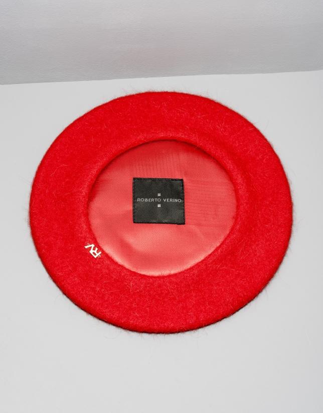 Boina angora y lana rojo