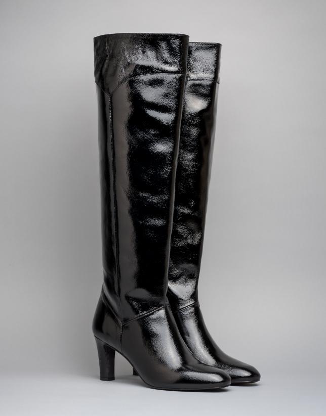 Bota alta de tacón Chagall en piel color negro